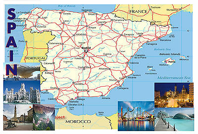 SPAIN Map Poster Wall chart - A3 size - educational- teaching - school type
