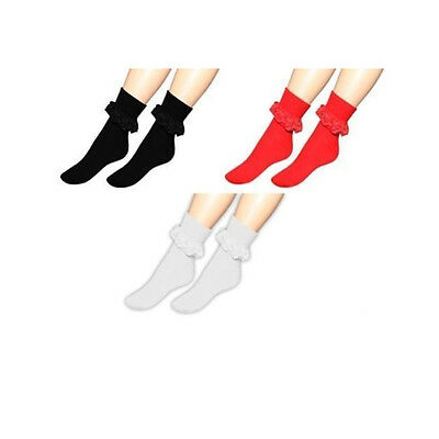 Frill Lace Top Ankle Socks Retro Style Ruffled Lace Trim Ankle High Girls Ladies