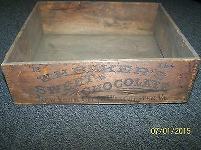 Antique / Primitive 1800's W.H.Baker's Sweet Chocolate Crate New York / Virginia