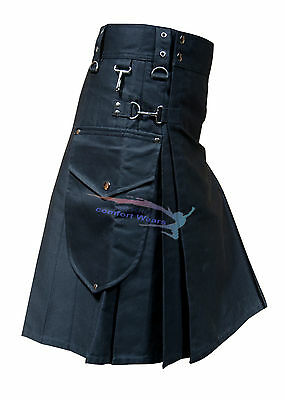 New Active Men Black Cargo Utility Fashion Kilt