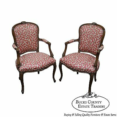 Quality Pair of French Louis XV Style Open Arm Chairs (A)