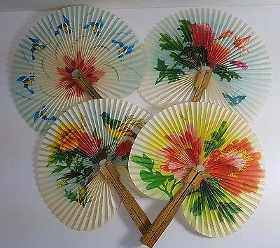 4 Beautiful Oriental Chinese Paper & Metal Foldaway Portable Cockade Hand Fans