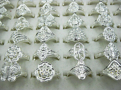 10pcs Lots Mixed Wholesale New Fashion Jewelry Vintage Style Silver Rings J109