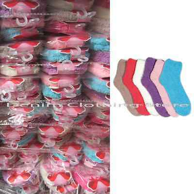 Wholesale Lot Women Solid Colors  Plain Fuzzy Soft Winter Slipper Socks  9-11
