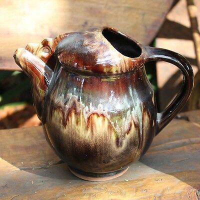 Lovely Unusual Vintage Drip Glaze Jug with hanging point Made in Bulgaria VGC