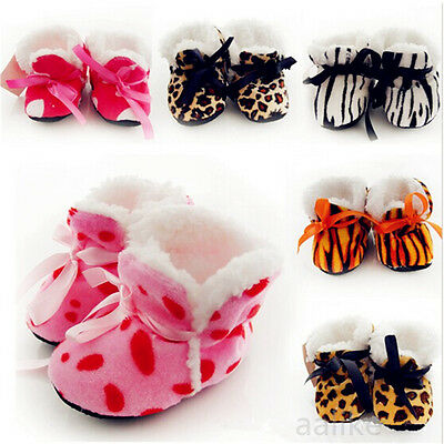 Cute Newborn Baby Toddler Infant Girl Winter Warm Boots Bow Soft Sole Shoes 0-6M