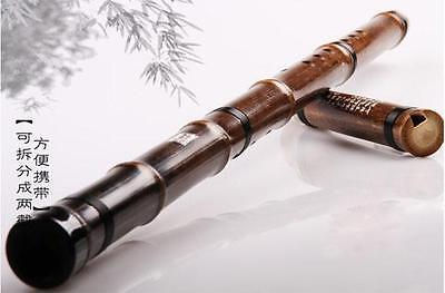 B Chinese Instrument Shakuhachi Professional Purple Bamboo 2 Sections Flute Xiao