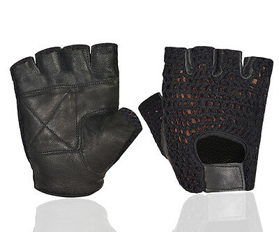 Mesh Leather Padded Fingerless Weight Lifting Exercise Gym Wheelchair Gloves
