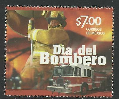 MEXICO 2014 FIREMAN DAY FIRE ENGINE 1v MNH