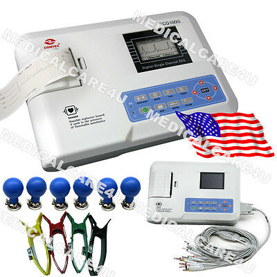 USA Portable FDA 12 Lead ECG EKG Machine Systems Single Channel LCD Printer, New
