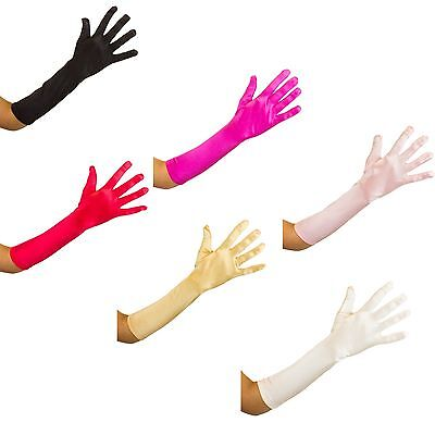 Long Satin Gloves Soft Stretch Smooth Shiny  Satin Occasional Gloves 10 colours