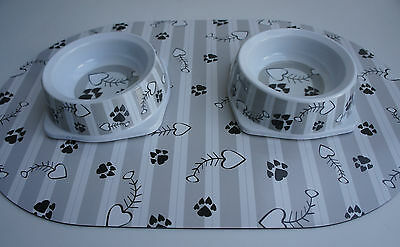 Ancol Paw Print And Fish Bone Cat Feeding Bowl And Mat Sets Grey Stripe Melamine