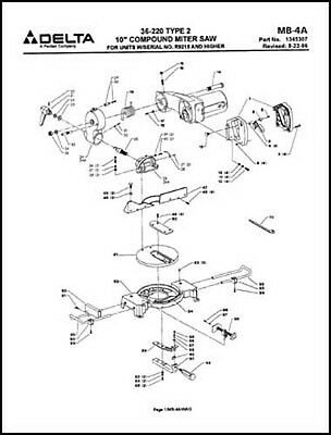 Delta 36-220 10 Inch Compound Miter Saw Parts Manual