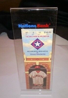 Vintage The Texas Rangers Opening Day Display/STAND With Ticket 1994 .
