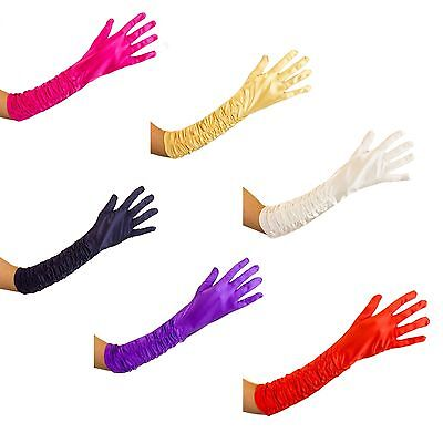 Womens 20s Style Long  Ruched Satin Gloves Fancy Dress Evening Wedding Gloves