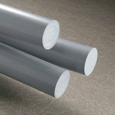 GREY PVC Round ROD 500mm to 2000mm long Plastic Rigid Engineering Bar Dia Billet