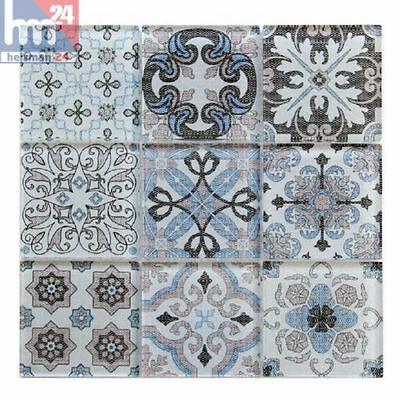 Mosaik Salerno Ornament Glas Fliese / Matte 30 x 30 x 0,8 cm