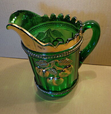 ANTIQUE Carnival Glass NORTHWOOD Peach and Cable WATER PITCHER Green & Gold