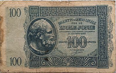 Greece - Ionian Islands - Isole Jonie - 1941 - 100  Drachmas - Extremely Rare