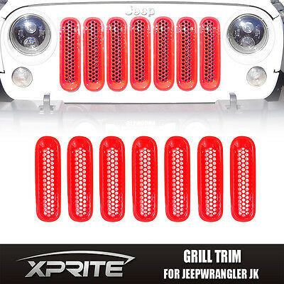 7 pcs Red Front Insert Mesh Grill Cover Trim Set Fits 07-18 Jeep Wrangler JK
