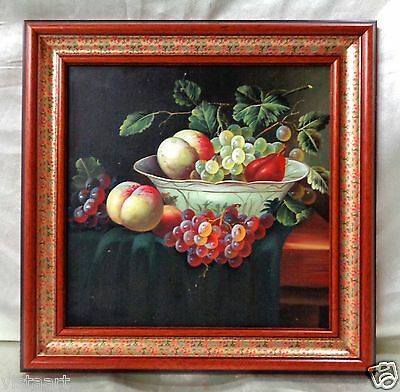 oil painting on canvas fruit in bowl w unique vintage style wood frame