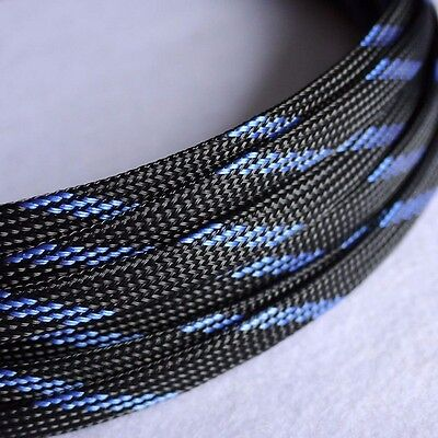 Sleeving Cable 5 Meters X 8MM Black&Blue Tube PET Expandable Braided Heat Shrink