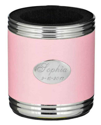 Personalized Pink Stainless Steel Can Holder, Beer Can Koozie, New in Box