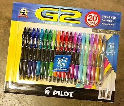 Pilot G2 Premium Gel Roller Ink Fine Point 0.7mm Pens Assorted Color - 20 Pack