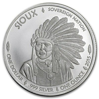 2015 Sioux Indian/Buffalo 1 oz .999 Silver BU Round - AMERICAN USA BULLION COIN