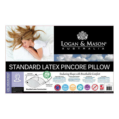 Logan and Mason Standard Latex Pincore Pillow Non Allergenic Low / Medium Height