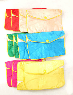 """Silk Jewelry Chinese Pouch Bag Assorted Color  ONE DOZEN  Zipper - 6 1/2"""" x 4"""""""
