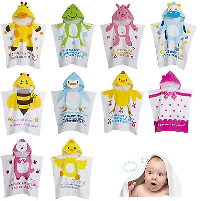 Unisex Kid Child Baby Hooded Poncho Swim Beach Bath Towel Wear Bathrobe Cotton