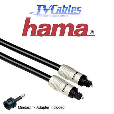 Hama 3m Toslink Cable Optical Lead ODT 3 Metres Digital Audio