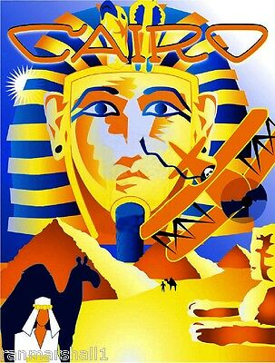 Egypt Cairo Sphinx Pyramids Egyptian Vintage Travel Advertisement Art Poster