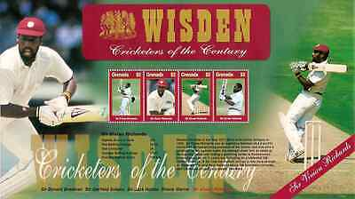 WISDEN CRICKET SIR VIVIAN RICHARDS GRENADA 2000 SHEETLET of 4 Values MNH