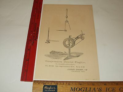 Rare Orig VTG 1875 Dr Elliott's Invention Dental Suspension Engine Ad Art Print