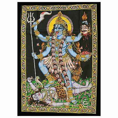 Indian Cotton Wall Art Print with Sequins - 77cm x 107cm - Kali