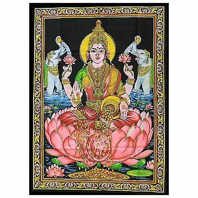 Indian Cotton Wall Art Print with Sequins - 77cm x 107cm - Laxmi