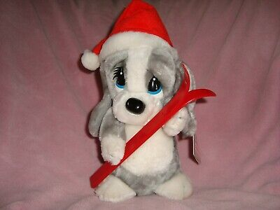 1988 Applause Sad Sam friend Winter Honey Plush Dog with skis & santa hat 11""
