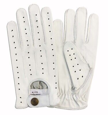 Top Quality Real Leather Men's Unlined Driving White Gloves 7011