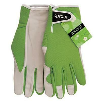 Sprout Olive Green Ladies Goat Skin Soft Leather Garden Gloves Gardening New
