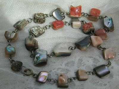 """Wonderful Vintage 30/40's Metal Linked Abolone Shell Bead Necklace - 19"""","""