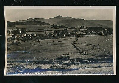 Wales Brecknockshire BRECON Beacons from Promenade locals in river 1948 RP PPC