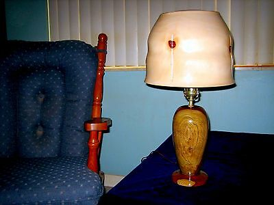 590_Rosewood & Norfolk Island Pine Wooden Lamp is a One of a Kind Collectible.
