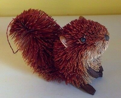 Natural Brush Art Squirrel Christmas Ornament - New