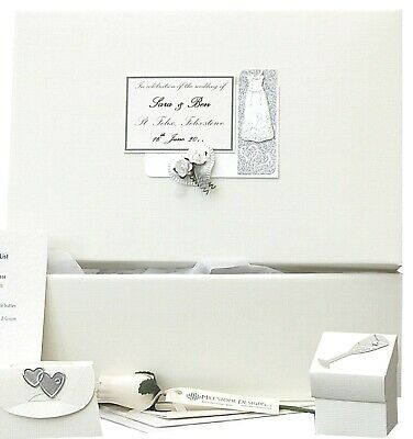 LARGE Simple Linen + Silver PERSONALISED Wedding Keepsake Box 5 Motif/12 Colours