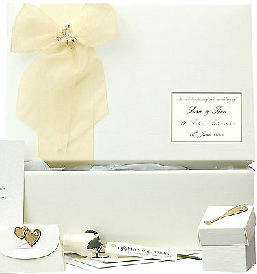 LARGE Simple Linen + Gold PERSONALISED Wedding Keepsake Box 5 Motifs/12 Colour