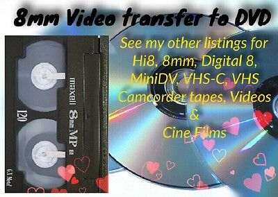 8mm Video Camcorder Cassette To DVD or Digital Media TRANSFER SERVICE