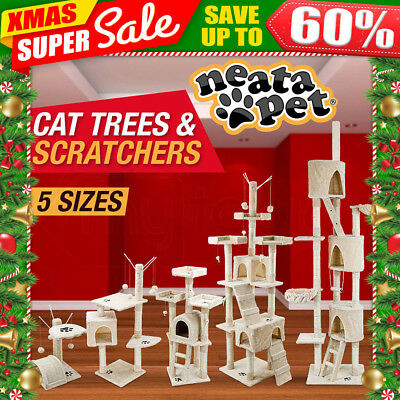 NeataPet Cat Scratching Post Tree Gym House Furniture Bed Scratcher Pole Tunnel