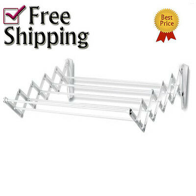 """24"""" Expandable Cloths Hanging Drying Rack Laundry Hanger Collapsible Wall Mount"""